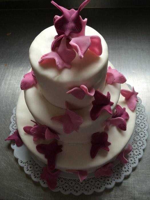 Hochzeitstorte-rosa-Schmettlerlinge